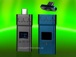 Airvape X Black closed and on, Blue one open and off